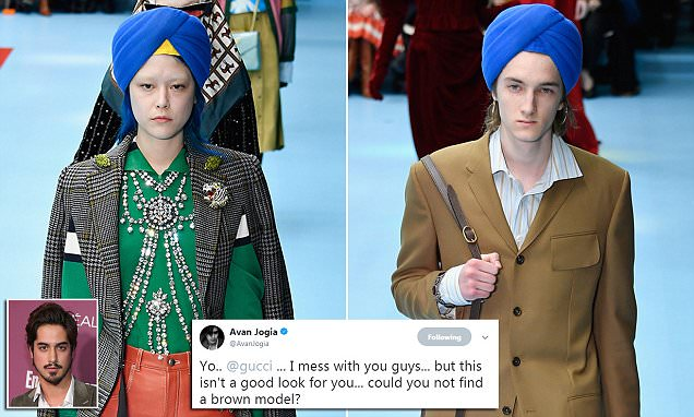 Gucci slammed for putting a turban on a white man at MFW