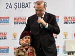 The president made the comments to a sobbing young girl dressed as a Turkish solider on a public stage during a live TV appeareance