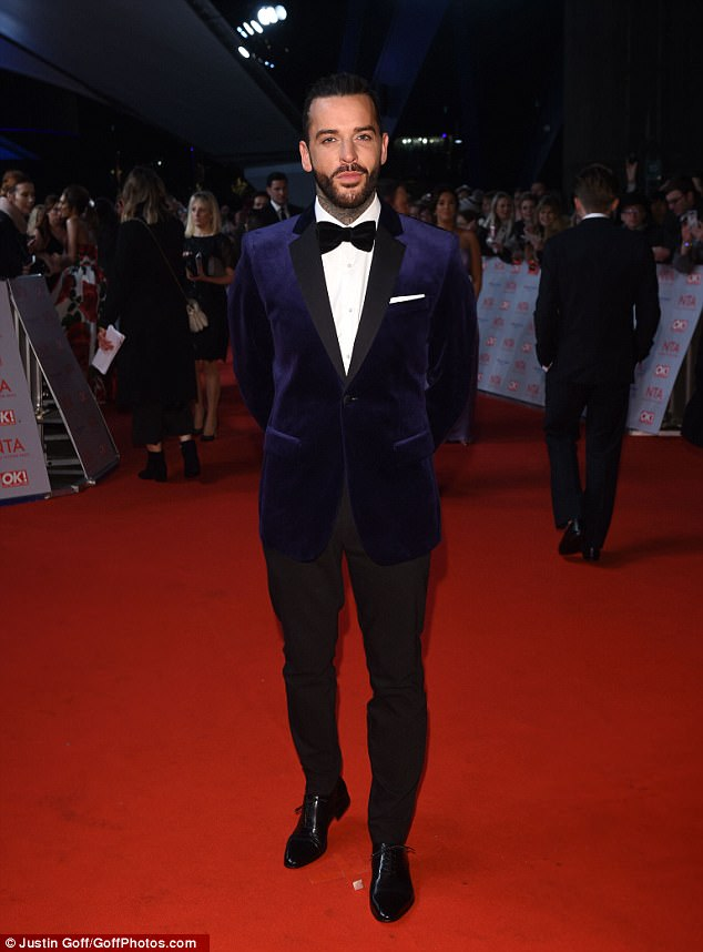 Awkward reunion: Megan's ex beau Pete Wicks also attended the ceremony, looking dapper in a classic midnight-blue velvet tux, offset with black trousers and polished shoes