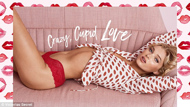 Sealed with a kiss: Elsa continued her flesh-flashing look as she flaunted her taut stomach clad in a pair of red lace panties and a Valentine's inspired white shirt with kisses all over it