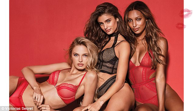 Sultry: Angels Romee Strijd, Taylor Hill and Jasmine Tookes sizzled in their lingerie