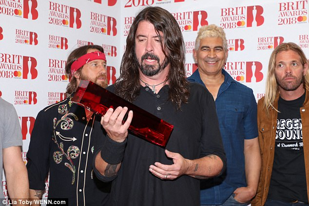 Iconic: American rock band Foo Fighters made an appearance as they took home the International Group award
