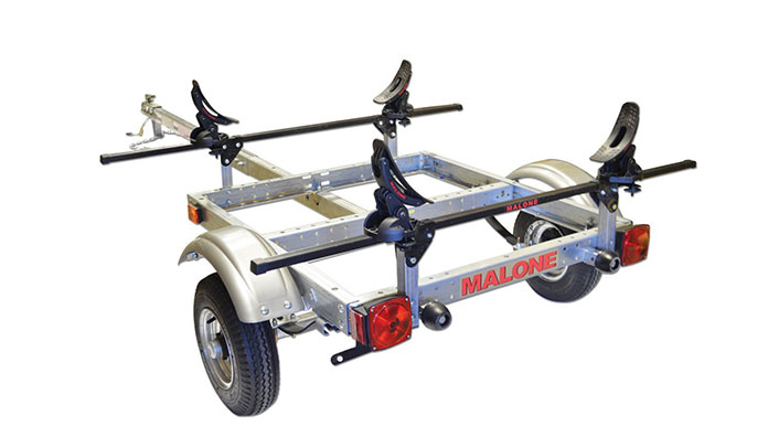 malone xtralight trailer package with 1 saddle up kayak rack review