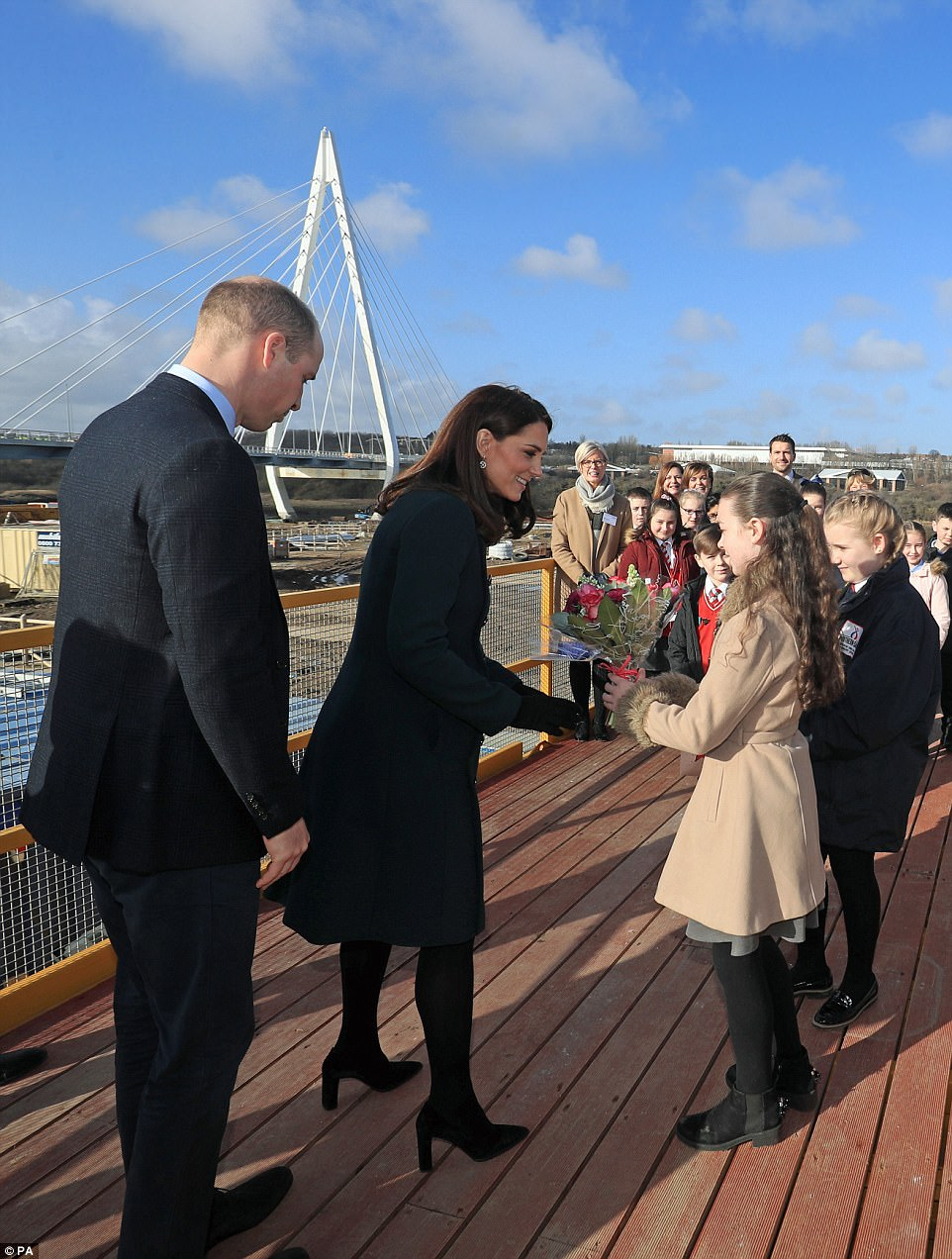 In the second part of their visit the Duke and Duchess travelled to seea new bridge that Sunderland hopes will help with regeneration in the area