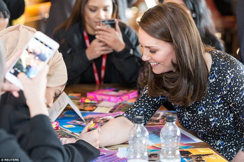 The Duchess of Cambridge had a henna tattoo painted on her wrist during a visit to a community centre in Sunderland