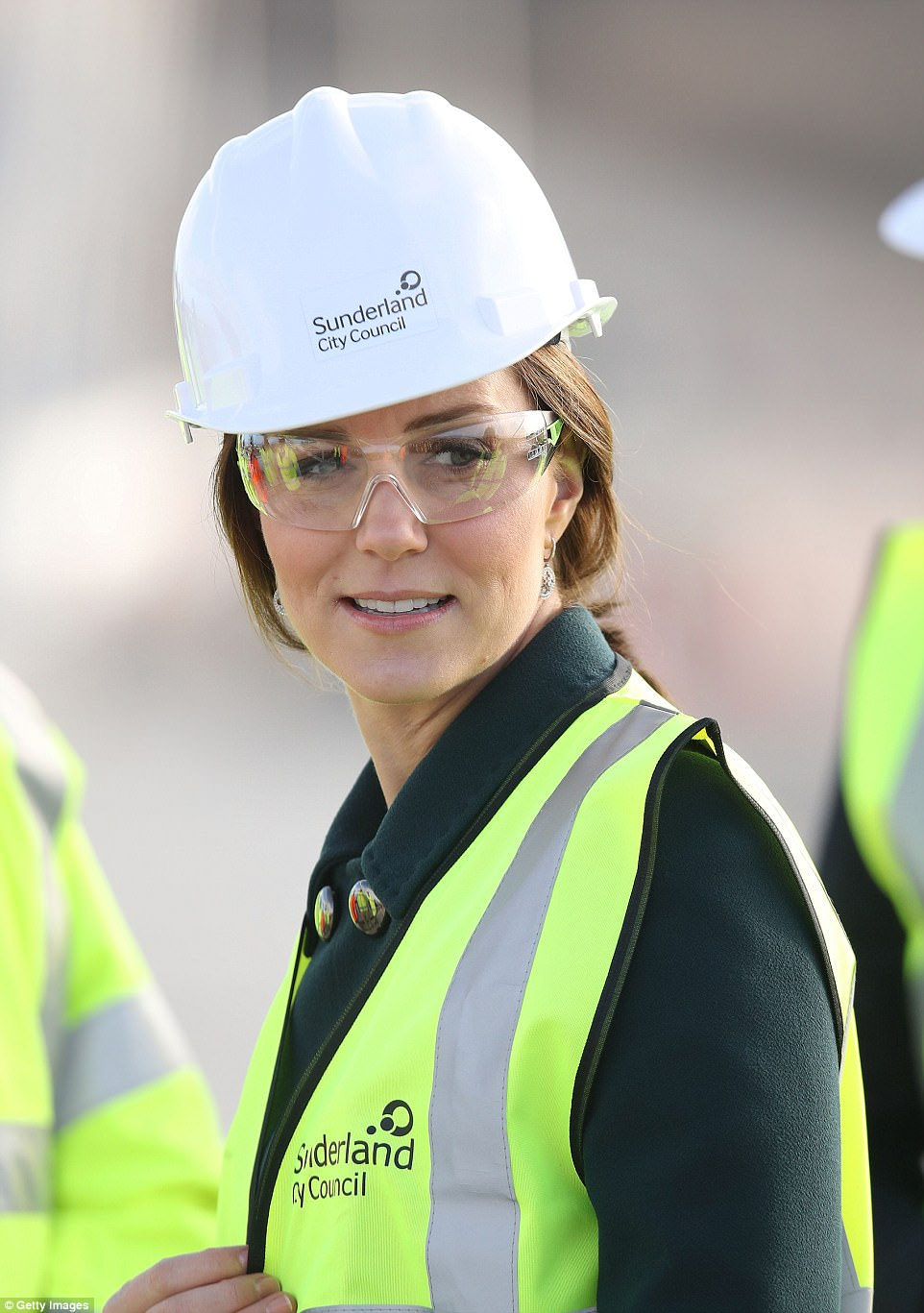 The Duchess of Cambridge donned a hard-hat and a high-vis vest as she visited the site of a new bridge in Sunderland