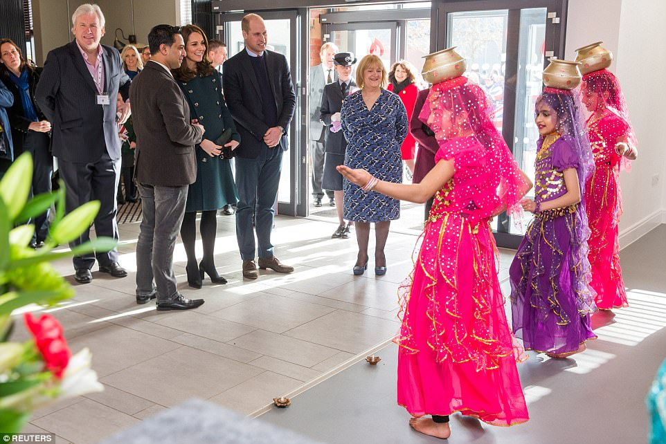 The couple were delighted to be treated to a dance performance during their visit to The Fire Station on Wednesday