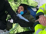 Sarah Parish, pictured, is being treated at Royal Hampshire County Hospital in Winchester for a broken leg after using a cheap plastic sledge to snowboard