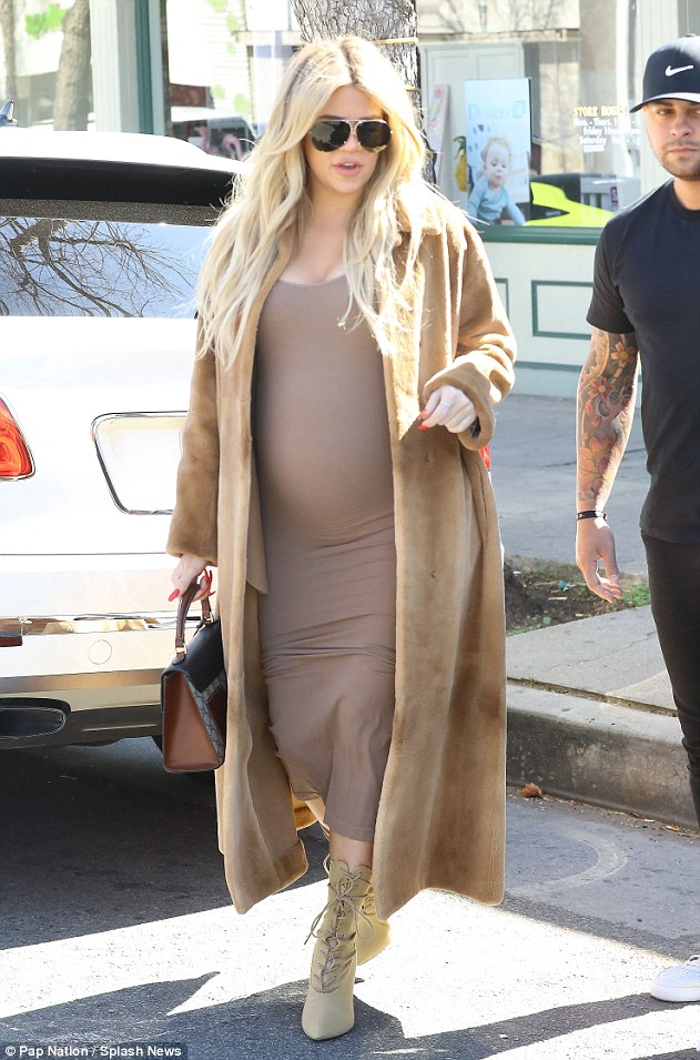 On-the-go: Khloe Kardashian was spotted baby shopping in Los Angeles on Wednesday