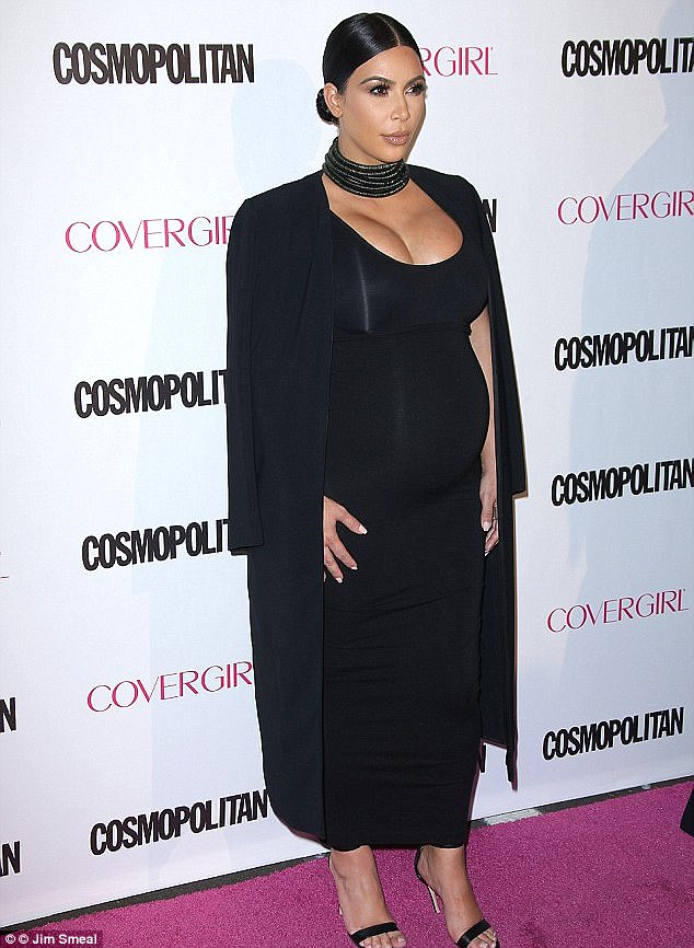 And another one: Kim donned an all black look as well while pregnant with Saint; pictured in October 2015 at Cosmopolitan's 50th birthday celebration