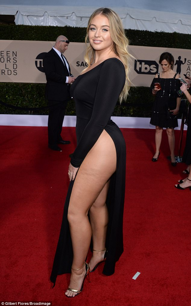 Thighs the limit! Iskra  certainly made the most of her enviable curves as she arrived at the SAG awards in LA on Sunday