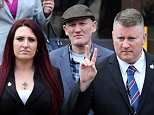 Britain First leader Paul Golding (front right), and deputy leader Jayda Fransen (left) at Folkestone Magistrates' Court in Kent today