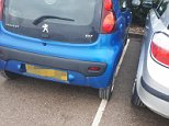 William Smith-Devoy, 17, was forced to park his silver Vauxhall to the right of this blue Peugeot in a shopping centre car park. But when he returned he found a rude note on his windscreen