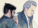 An artist's sketch of 'pharma bro' Martin Shkreli sniffling into a tissue at the US District Court in Brooklyn on Friday as he is sentenced to seven years behind bars
