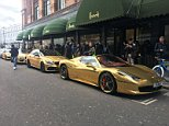 This fleet of gold-painted cars parked up outside Harrods luxury department store in Knightsbridge, West London, today, where shoppers in the affluent district were greeted to the sight of the convoy