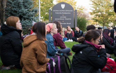 Students gather on SAE headquarters lawn to protest rape culture on campus
