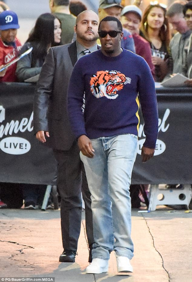 Eye of the tiger: Also seen arriving at Jimmy Kimmel Live was recording artist and music mogul Sean 'Diddy' Combs who wore a blue sweater with a roaring tiger motif on the front