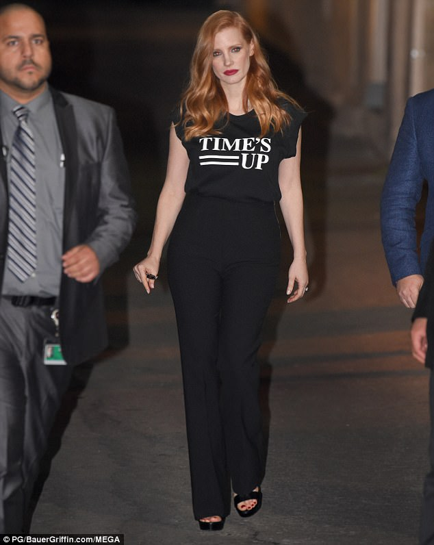 Star with a message: Jessica was spotted leaving the talk show in an all-black ensemble of sleeveless top and high-waisted slacks promoting the Time's Up initiative