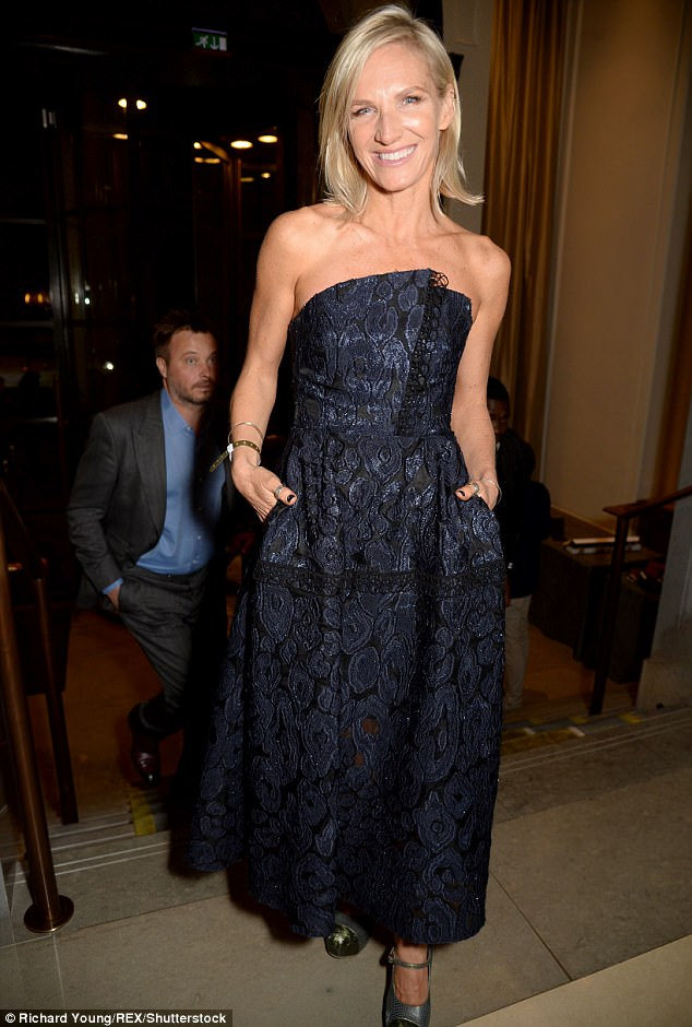 Radio Fave: DJ Jo Whiley caught the eye in her decadent midnight blue lace dress, which flaunted her toned figure