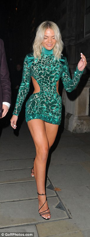 Leggy: She showcased her lengthy pins for the night out