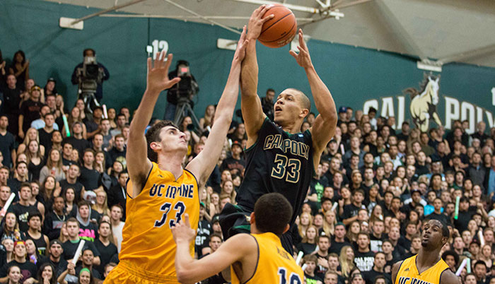 Cal Poly mens basketball player shooting against UCSB