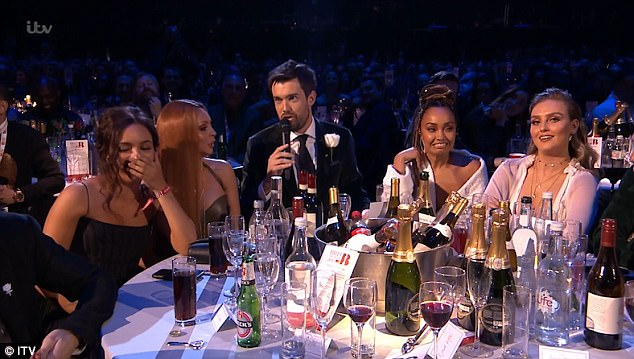 Awkward: Jack Whitehall left Jesy Nelson red-faced on Wednesday night, when he made a very public joked about her famous Jamaican accent gaffe at the 2018 BRIT Awards