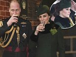 A Guinness for me and a water for you! Prince William enjoys a traditional Irish pint while heavily pregnant Kate sticks to water during their St Patrick's Day celebrations visiting the Colonel of the Irish Guards in Hounslow, west London