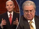 Bill Hader (right) brought his Anthony Scaramucci impersonation back to life in the opening sketch for Saturday Night Live that he hosted. (From left to right) Fred Armisen, Alex Moffat and John Goodman also partook in the sketch, playing Michael Wolff, Anderson Cooper and Rex Tillerson