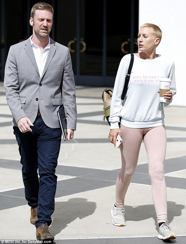 Mel B's former nanny,Lorraine  (right) has filed for divorce from her husband of 17 months, Michael Bleau. They're pictured together above leaving Gilles' attorney's office in Encino, California, on Wednesday