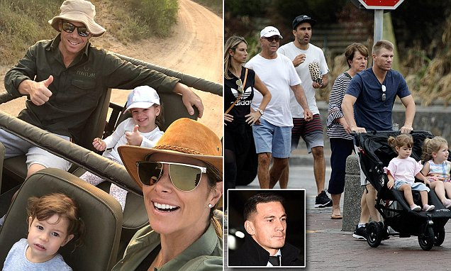 David and Candice Warner return to Cape Town after safari