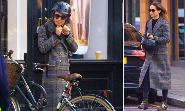 Pippa Middleton looks chic in a checked coat and oversized shades