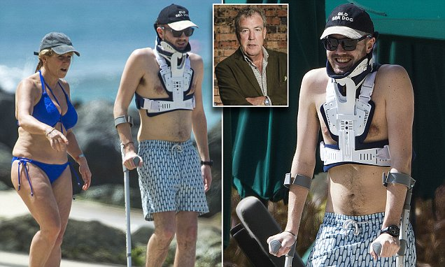 Jeremy Clarkson's son Finlo in braces during holiday in Barbados