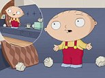 Family Guy revealed a shocking truth to the show's fans in Sunday's episode that saw Stewie Griffin visit a child psychologist (left) voiced by Ian McKellen. During the session Stewie reveals that his accent is actually fake