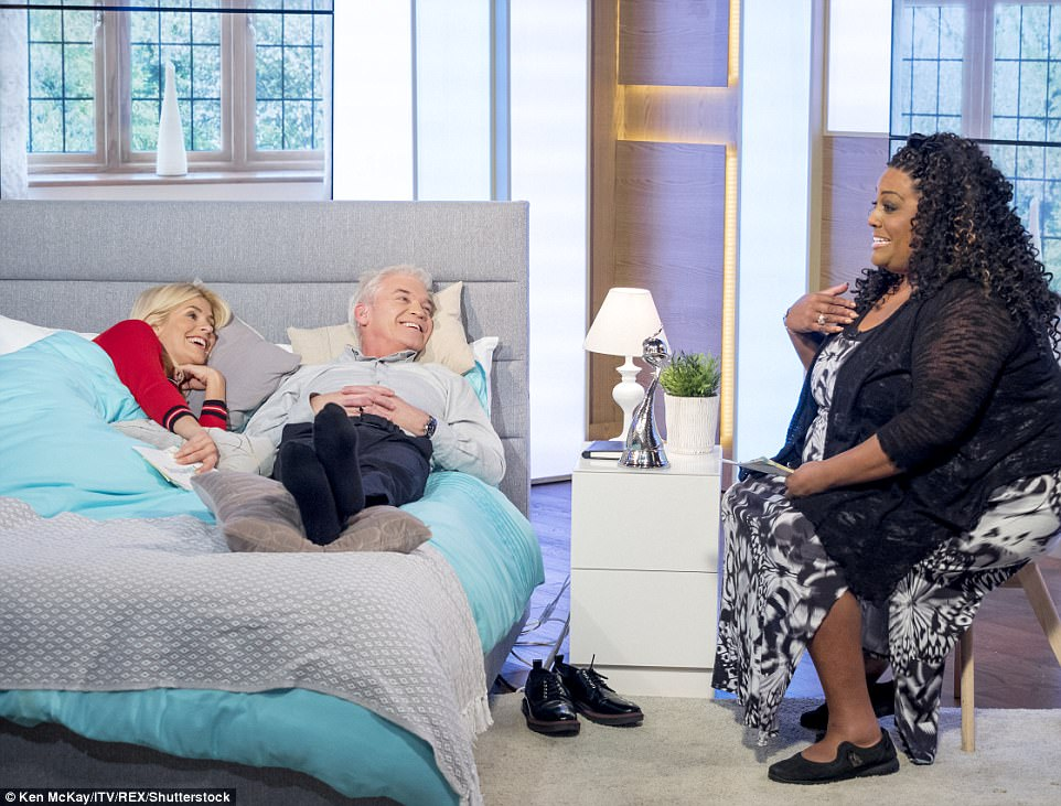 Something to say: Fellow host Alison Hammond also came over for a natter as the cameras rolled on