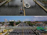 These photos show the transformation of San Juan's Roman Baldorioty de Castro highway six months after Hurricane Maria struck Puerto Rico in September 2017. Cars waded through floodwater in the storm's aftermath (above) but can now travel freely (below)
