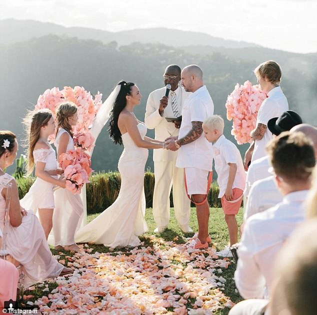 Special moment: Jeremy Bieber and Chelsey Rebelo tied the knot in front of around 30 guests with Justin and his siblings acting as bridesmaids and groomsmen