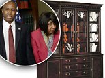 Secretary of Housing and Urban Development Ben Carson (left) has come under fire for his agency's use of taxpayer dollars to fund a $31,000 dining room set for his office. His wife Candy Carson (second from left) helped with the redecorating efforts, he said