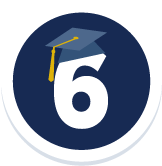 UC Davis is Ranked 6th Nationally Among Public Universities - Badge with a number 6 and a grad cap