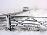 Snow begins to fall again on the higher routes of the North Pennines today  across Weardale in County Durham