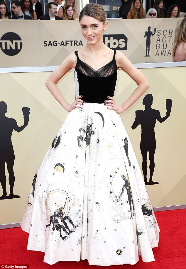 American beauty: The actress made a stunning appearance in a black and white ball gown at the Screen Actors Guild Awards in Los Angeles on Sunday night