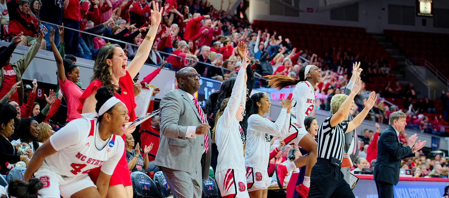 NC State women's basketball celebrates a second-round NCAA tournament victory over Maryland