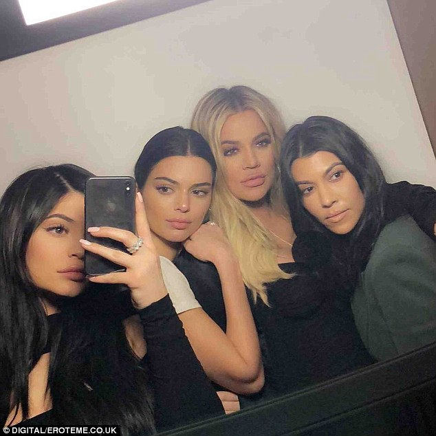 Arrangement: Khloe dished that 'Kourtney [Kardashian] (right) is hands-down the messiest, which 'leaves Kendall [Jenner] (second from left) and Kylie [Jenner] (left) between them'