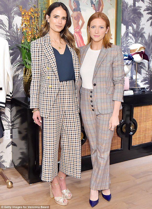 Seeing double! The Fast & The Furious alum - rocking L.K Bennett peep-toe heels - posed with pal Brittany Snow, who also wore sharp plaid separates