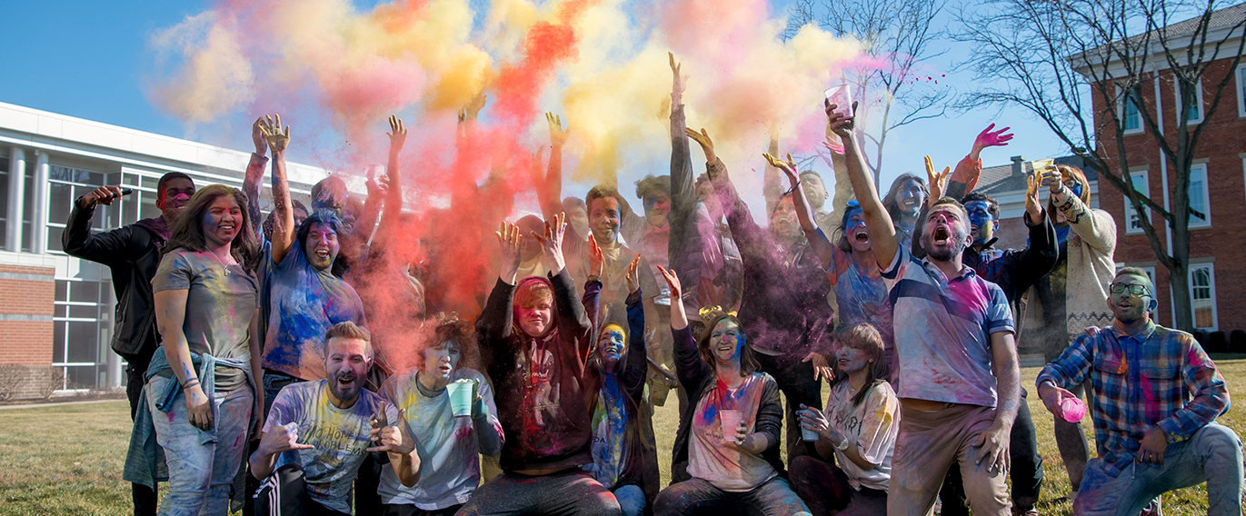 Students, Staff and Faculty Celebrating Holi