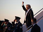 President Donald Trump gestures to people cheering him across the tarmac as he, arrives on Air Force One with first lady Melania Trump and their son Barron Trump at Palm Beach International Airport, in West Palm Beach, Fla., Friday, March 23, 2018. (AP Photo/Carolyn Kaster)