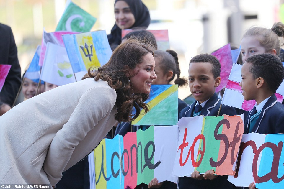 The Duchess of Cambridge chatted to pupils fromChobham Academy, East London as she arrived at the Olympic Park