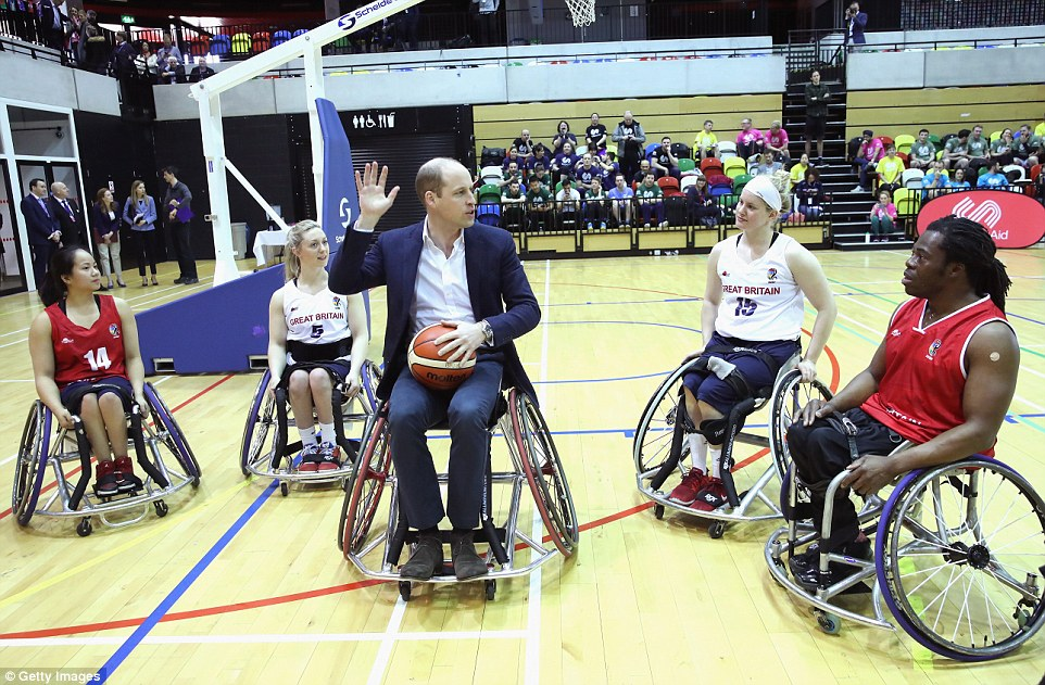 William received a coaching session from wheelchair basketball players, some of whom hope to compete in the 2022 Commonwealth Games in Birmingham