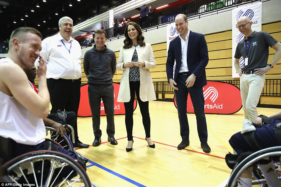 The Duke and Duchess were delighted to be spending time with wheelchair basketball players who are hoping to compete in the 2