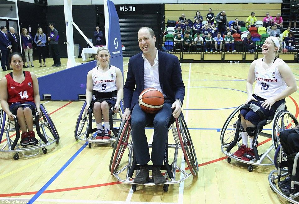 Prince William looked like he was in his element as he had the chance to take part in a game of wheelchair basketball
