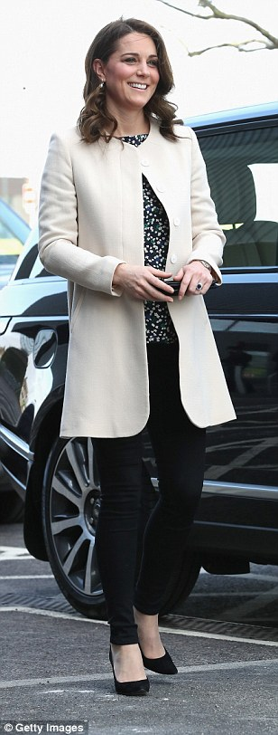 The Duchess was wearing her Goat coat for the third time today